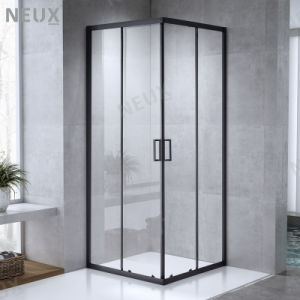 Habitaciones de ducha con puertas correderas de entrada en esquina con marcos negros de diseño moderno