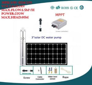新しいDC 24Vの太陽農業の潅漑の屋外の試錐孔のブラシレス水ポンプの自由な出荷保証5年の3sps1.0/30-D24/80
