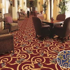De alta calidad comercial de resistencia a manchas de nylon de lana gruesa imprime el patrón de pared a pared moqueta de la habitación de hotel