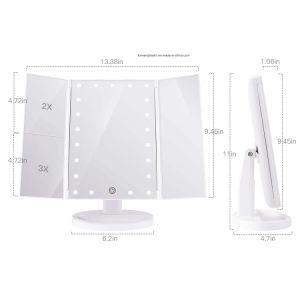 BSCI, WCA, Sqp, Wal-Mart Fábrica Certificado Tri-Fold Espelho de maquiagem de Cortesia Iluminados 21 LEDS, toque em Tela 3X/2X/1X espelho de ampliação