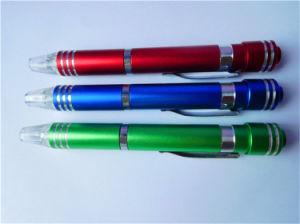 Destornillador de LED con forma de bolígrafo multifunción 6 en 1 destornillador
