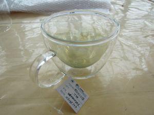 Tazza di vetro doppia con l'orecchio (FROSTING INTERNO di STRATO),