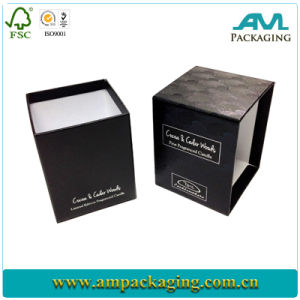 2PC textura rígida contenedor Negro Caja de regalo con logo blanco Estampación