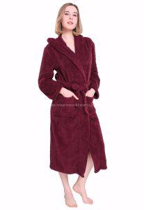 Collier de la mode hôtel de luxe Bourgogne Fleece Terry peignoir à capuchon