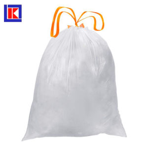 13 갤런 신선한 청결한 HDPE 검정 졸라매는 끈 쓰레기 봉지