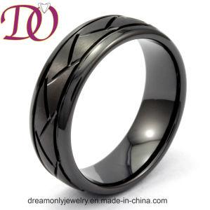 De zwarte Ceramische Ring van het Patroon van de Band van de Ring