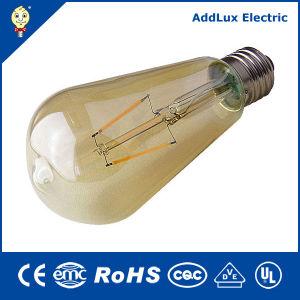 Marcação RoHS 3W E27 LED de cobertura de vidro Dourado Luz de filamento