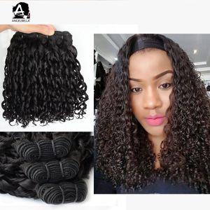 Angelbellaのブラジルの人間の毛髪の織り方の黒カラー妖精のカールの倍によって引かれるRemyの毛