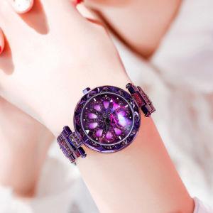 Dom material de liga de pétalas de relógio indicador giratório vários Color Senhoras Relógios de pulso (JY-AL001)