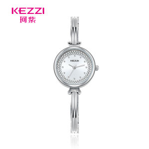 Kezzi Plata elegante acero inoxidable de diamantes Pulsera Dama Cuarzo Women Watch