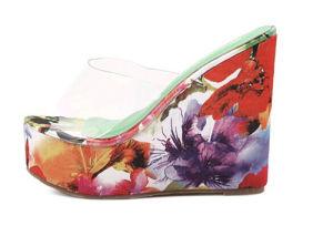 Мода клин высокого каблука дамы сандалии