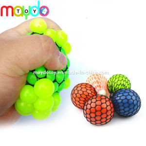 Hot vender TPR exprimir la uva juguetes Squishy Bola de malla con tapa