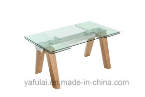 Extensions-ausgeglichenes Glas-festes Holz-Bein-Speisetisch
