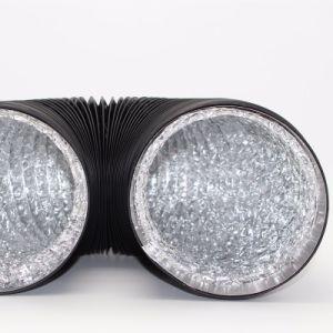 Maakt de fabriek niet-Geïsoleerde Aluminiumfolie de Dubbele die Lucht van de Laag dik met de Cirkel Leiding van het Aluminium HVAC van Schakelaars wordt gepast