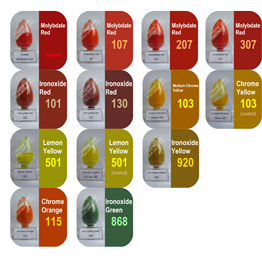 Anorganisch Rood Pigment, Geel, Groen, Sinaasappel