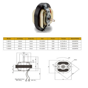 Yj58 3000rpm del motor del ventilador de flujo transversal de CA con rodetes de aluminio