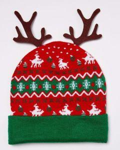 Acender Chifre Natal Beanie Hat