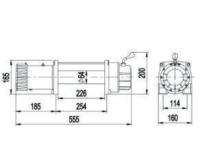 12000lbs potente cabrestante eléctrico con DC 12V/24V Motor