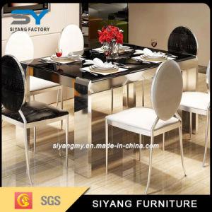 Restaurante juego de comedor Muebles de vidrio negro mesa de comedor