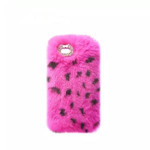 カスタムRexのウサギの毛皮の移動式アクセサリのピンクの羊毛質のプラシ天の箱の電話カバーローズのiPhone 7のための赤いプラシ天のバニーの携帯電話の箱