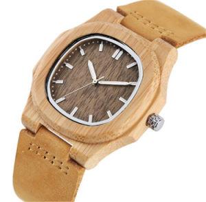 호화스러운 목제 시계 상단 여자 석영 손목 시계 100% 자연적인 대나무 시계 우연한 가죽 창조적인 선물 Reloj De 마데라 -206