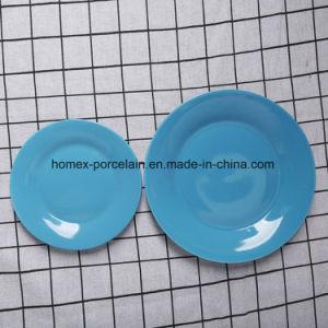 Western style populaire jeu de la vaisselle en porcelaine de couleur bleue