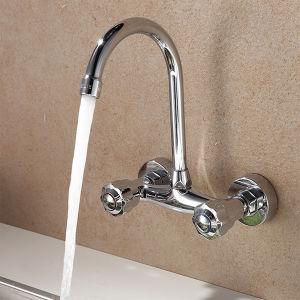 Design de montagem na parede do orifício duplo torneira de água de cozinha