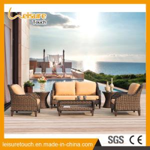 Un estilo moderno marco de aluminio exterior Handmake Brown muebles de patio Sunproof Sauce mimbre sofá cojines