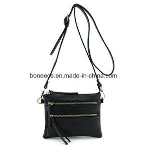 Flache Crossbody schwarze kleine Schulter-Beutel Zoll PU-mit Metallreißverschluss-Tasche