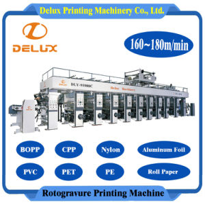 9 kleuren, de Hoge snelheid Geautomatiseerde Machine van de Druk van de Rotogravure (dly-91000C)