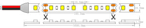 UL CE 3500K2835 SMD IP65 Impermeável Epistar 14,4W/M luz de LED