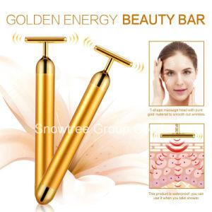Oro 24k Masajeador de elevación de la cara de la energía de forma de T Beauty Bar