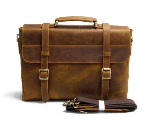 Vintage мужчин коричневого цвета кожи Messenger сумка для ноутбука портфель из натуральной кожи