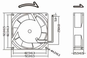 ventilador de la CA de 92m m 92X92X25.5m m para los equipos industriales