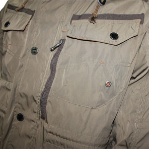 Relaxado casual aplicar o algodão/Poli jaqueta do capô & Outcoat dos homens