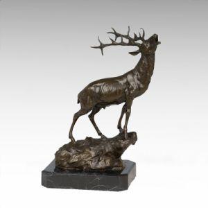 Escultura em bronze animal Deer Rugido Carving Deco estátua de bronze tpa-273