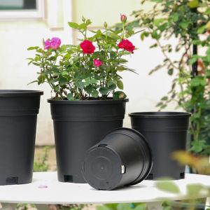 Для изготовителей оборудования на заводе 20см черный галлон пластмассовые цветы в горшочках слита прочный для сада растений внутри и вне помещений