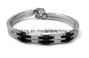 Buchstaben-Art- und Weisearmband mit schwarzem Gummi. (STB-536)