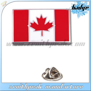Coustomのロゴのエナメルの金属のカナダのフラグの折りえりPin