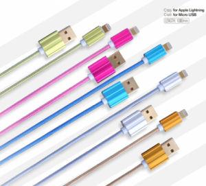 Cavo Braided del USB del nuovo tessuto di disegno con la lega di alluminio Shell per il micro USB 1.2m di iPhone