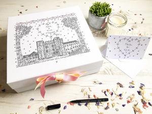 Cuadro de la memoria de la boda, Boda Caja ilustrada por la mano. Regalo de recuerdo de boda personalizado. Ilustración para celebrar bodas, a medida