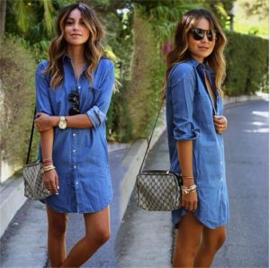 T1128 Women Fashion Jeans Shirt /Shirt Dress con Pockets Long Sleeve