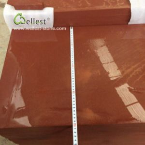 赤い砂岩40X60X3cmは砥石で研いだ
