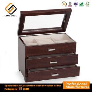 Étui de rangement de bijoux W/tiroir Affichage boîte supérieur en verre