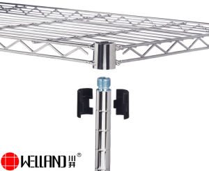 Cuarto de baño de metal cromado regulable de estante de alambre de rack con ruedas de nylon