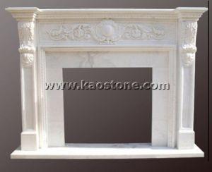 Decoração de escultura em mármore branco natural Mantel Lareira Surround