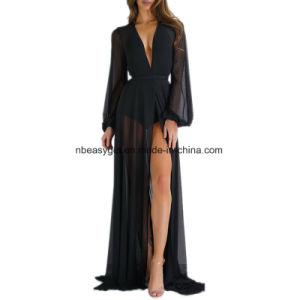 女性の長い袖の服の長い覆いの服の偶然の花の印刷されたマキシ浜はEsg10262に服を着せる