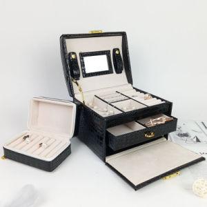 黒いPUの表示美の宝石類の箱装飾的なボックスギフト