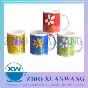11oz 330ml Venta caliente Taza de cerámica barata con coloridas flores de dibujos animados para la promoción de la Copa de cerámica de impresión
