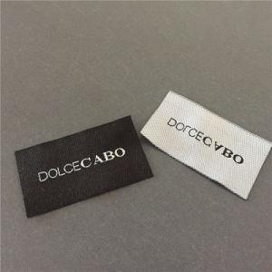 Custom fondo negro con letras blancas etiquetas tejidas de prendas de vestir prendas de vestir etiquetas principal